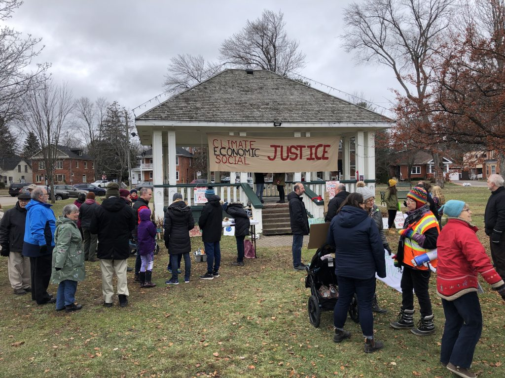 Crowd and stage at November 29 climate strike in Muskoka