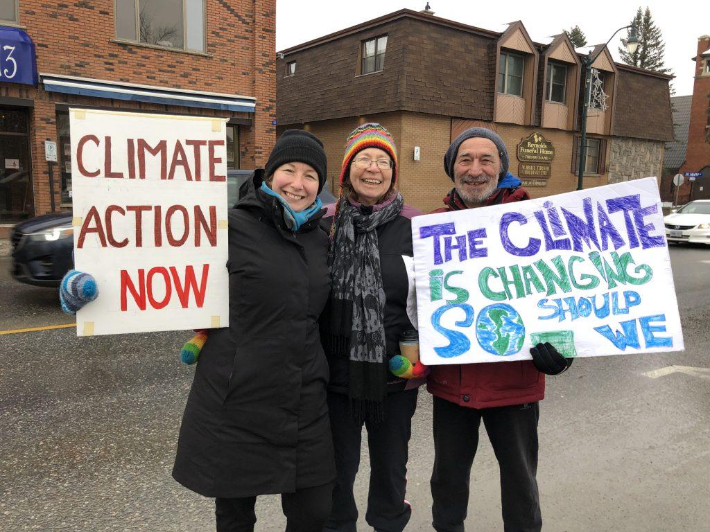 McKenzie, Sue and Len climate striking in Bracebridge.