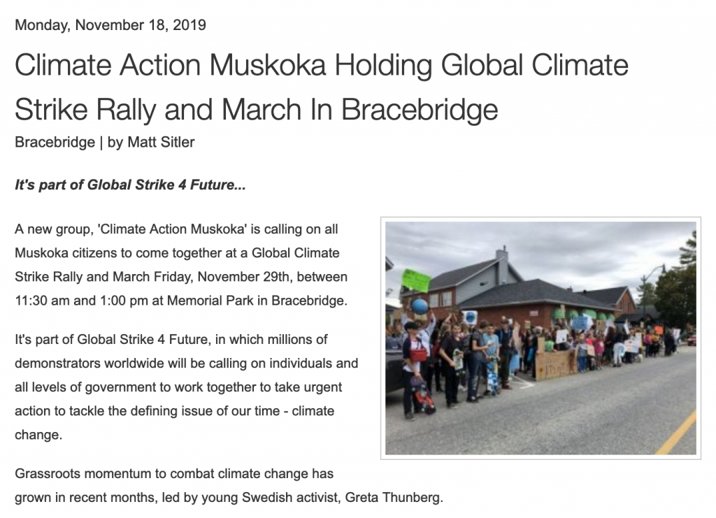 Bayshore Broadcasting - Climate Action Muskoka Holding Global Climate Strike Rally and March In Bracebridge