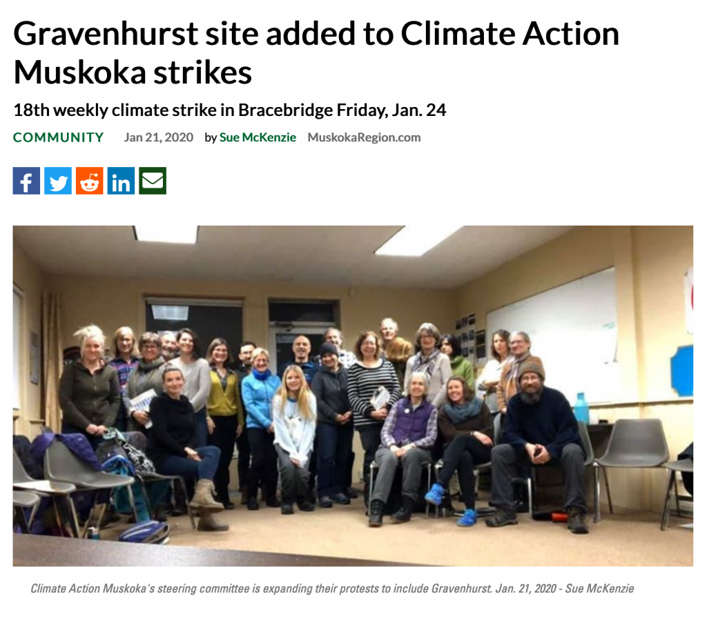 Image of article: Gravenhurst site added to Climate Action Muskoka Strikes with picture of steering committee.