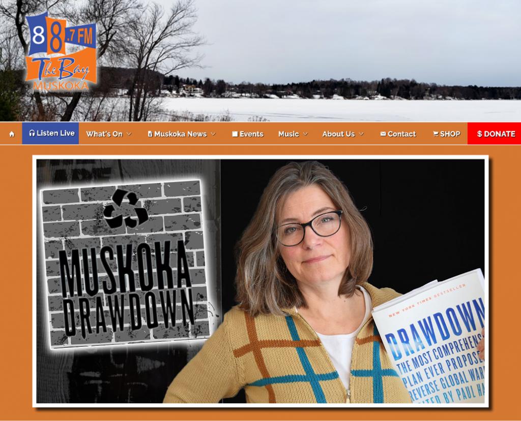 Hunters Bay Radio website and menu with Muskoka Drawdown host Tamsen Tillson holding the book Drawdown.