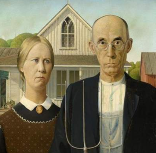American Gothic by Grant Wood, from the Art Institute of Chicago