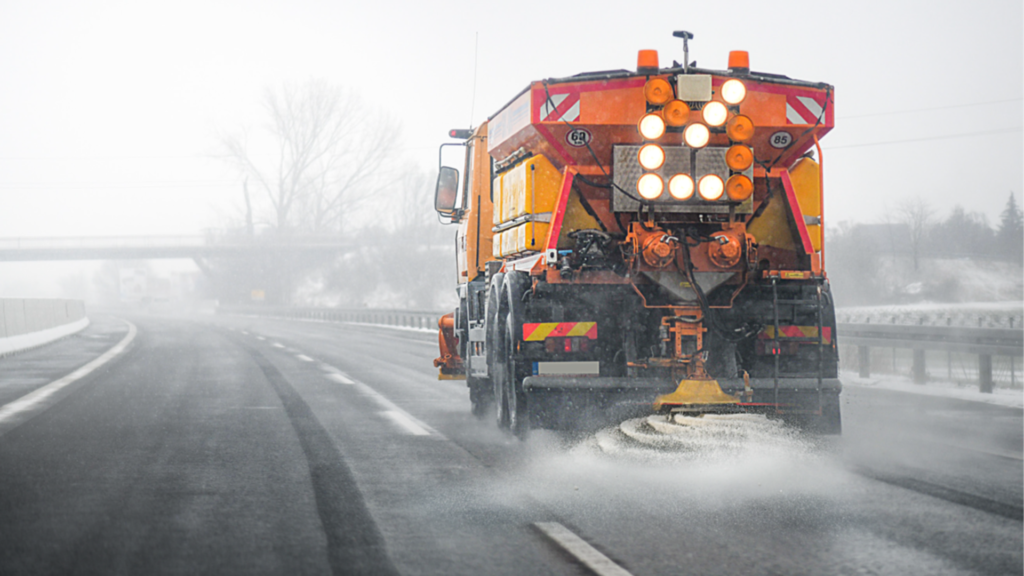 Picture of salt truck on highway
